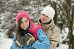 Couples de l'hiver. Verticale Photo stock