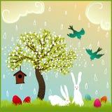 Couples de lapin de Pâques en nature Photographie stock libre de droits