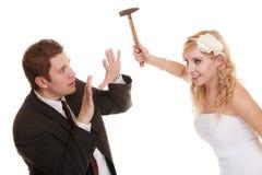 Couples de mariage ayant le conflit d'argument, mauvaises relations Image stock