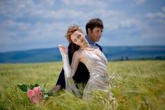 Couples de mariage dans le domaine à oreilles Photographie stock