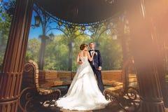 Couples de mariage dans le pavillion démodé Photographie stock