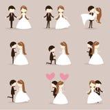 Couples de mariage de bande dessinée Images libres de droits