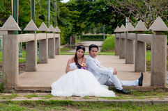 Couples de mariage en parc Photos stock