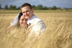 Couples de mariage parmi la fertilité de seigle image stock