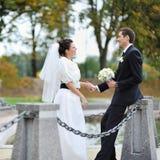 Couples de mariage près de la rivière Image libre de droits