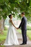 Couples de mariage retenant des mains Images libres de droits