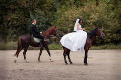 Couples de mariage sur des chevaux Photos stock