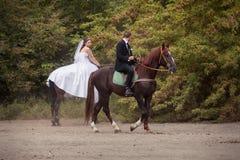 Couples de mariage sur des chevaux Images stock