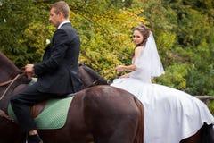 Couples de mariage sur des chevaux Image libre de droits