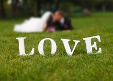 Couples de mariage unfocused et mot d'amour sur l'herbe Photos stock