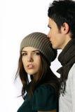 Couples de modèle de mode regardant l'appareil-photo Images stock