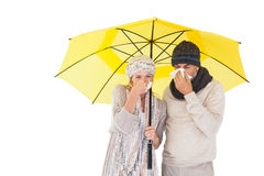 Couples de mode d'hiver éternuant sous le parapluie Photographie stock
