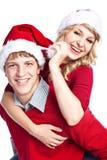 Couples de Noël heureux Photographie stock