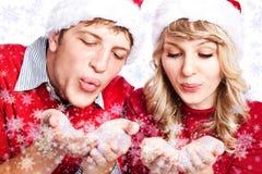 Couples de Noël heureux Images libres de droits