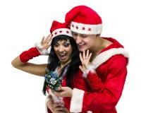 Couples de Noël heureux, d'isolement au-dessus du blanc Photographie stock