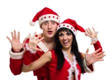 Couples de Noël heureux, d'isolement au-dessus du blanc Image libre de droits
