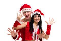 Couples de Noël heureux, d'isolement au-dessus du blanc Photo stock