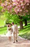 Couples de nouveaux mariés ayant une balade dans le parc au ressort Photos stock