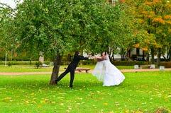 Couples de nouveaux mariés en stationnement d'automne Photographie stock libre de droits