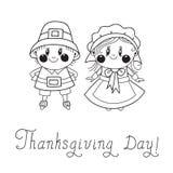 Couples de pèlerin d'enfants de jour de thanksgiving Photos stock