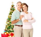 Couples de personnes âgées de Noël Image libre de droits