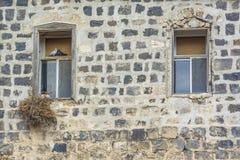 Couples de pigeon sur la belle fenêtre traditionnelle Image stock