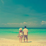 Couples de plage de vintage image stock