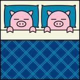 Couples de porc de sommeil illustration libre de droits