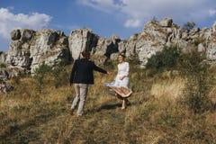 Couples de portrait, nature d'amour de tendresse Image stock