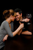 Couples de restaurant de vin Images libres de droits