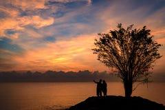 Couples de silhouette tenant la main Image stock