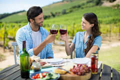 Couples de sourire grillant des verres de vin rouge tout en se reposant à la table Photo stock