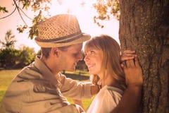Couples de sourire mignons se penchant contre l'arbre en parc illustration stock