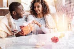 Couples de sourire regardant l'un l'autre Image libre de droits