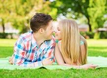 Couples de sourire se trouvant sur la couverture en parc Image stock