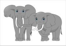 Couples des éléphants mignons de bande dessinée Image libre de droits