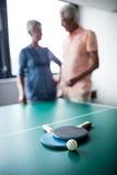 Couples des aînés agissant l'un sur l'autre derrière une table de ping-pong Photographie stock libre de droits