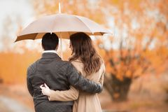 Couples des amants embrassant sous la pluie Photos stock