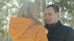 Couples des amants une date en parc, visage debout banque de vidéos