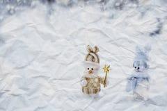 Couples des bonhommes de neige Photos stock