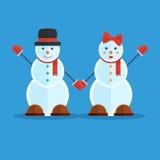 Couples des bonhommes de neige Photos libres de droits
