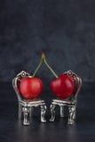 Couples des cerises rouges placées sur de belles chaises argentées de vintage Photographie stock libre de droits