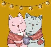 Couples des chats dans l'amour avec une tasse d'illustration de chocolat chaud Photos libres de droits