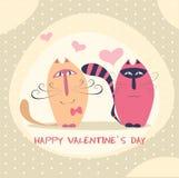 Couples des chats mignons dans l'illustration de vecteur d'amour Images libres de droits
