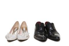 Couples des chaussures de mariage Images libres de droits
