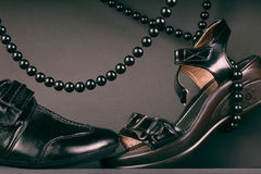 Couples des chaussures noires. Chaussures. Photo stock