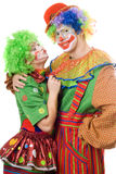 Couples des clowns colorés Photo stock