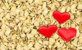 Couples des coeurs faits en symbole rouge de tissu de l'amour Photographie stock libre de droits