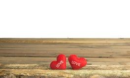 Couples des coeurs sur le bois Photo libre de droits
