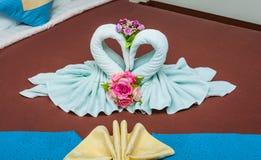 Couples des cygnes de vert bleu en serviette en forme de coeur Image libre de droits